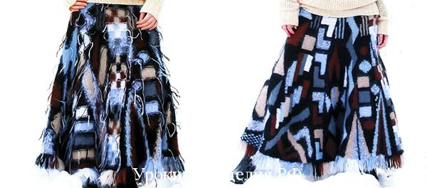 связать длинную юбку спицами, длинная вязаная юбка спицами