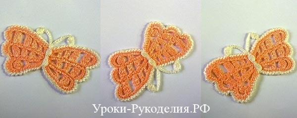 бабочки с усиками крючком, вязаные насекомые, ирландское кружева мотив