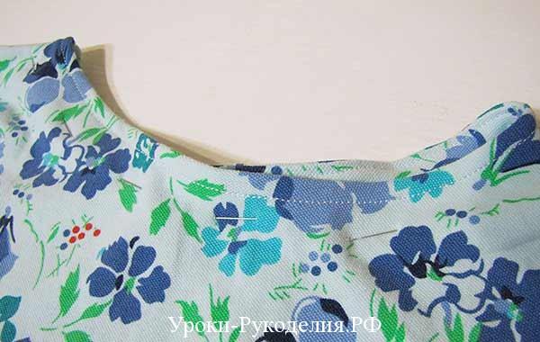 настрочить по вырезу, как сшить блузку своими руками