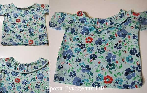 пошив блузки девочка, сшить кофточку девочке, выкроить по футболке