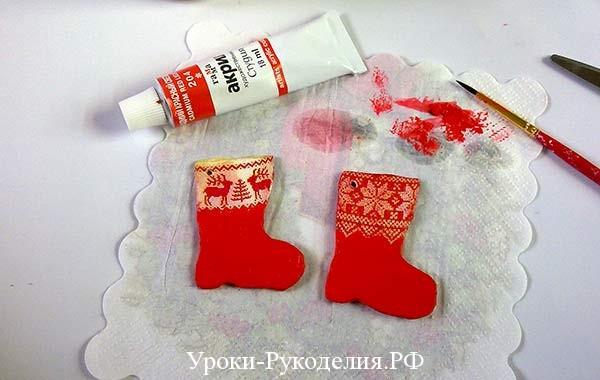 красные сапоги поделка, сделать руками подвеску на ёлку