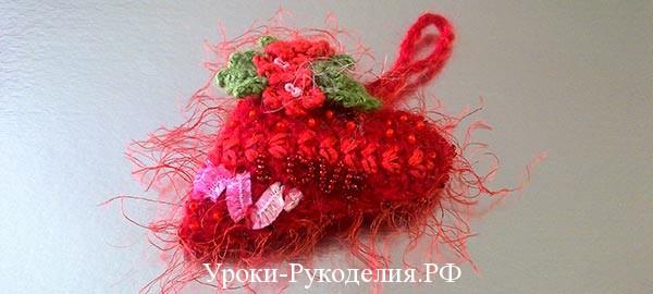 валентинка-сердце, вязаное сердце крючком