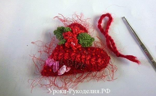петля для сердца, вязать сердце крючком, подарок на валентина
