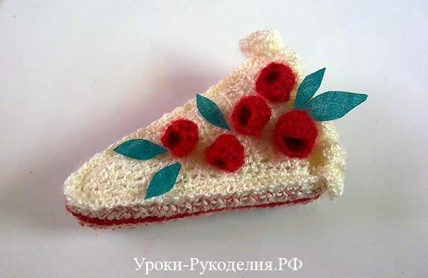связать ягоды крючком, малина вязанная