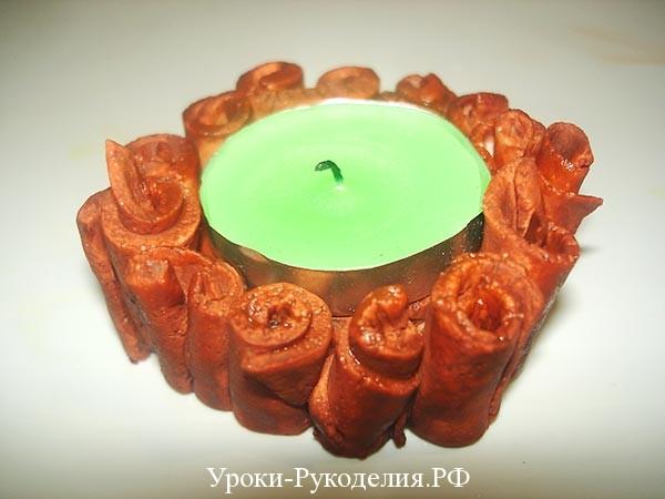 свеча в подсвечники из соленого теста
