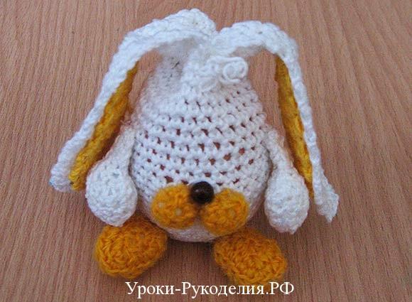 игрушка вязаная белый заяц