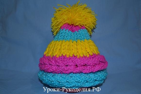 женская детская объёмная шапка