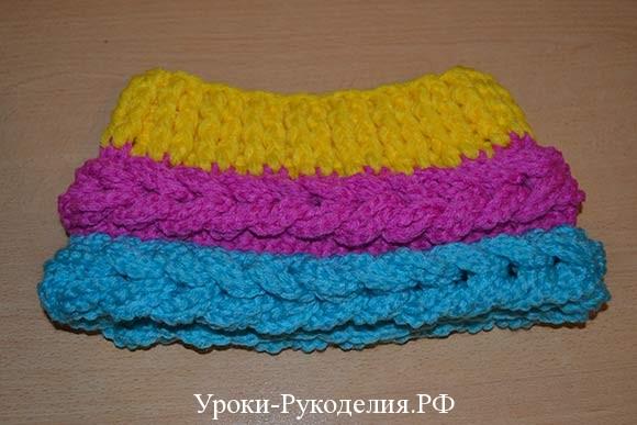 шапочка из косичек вязание крючком