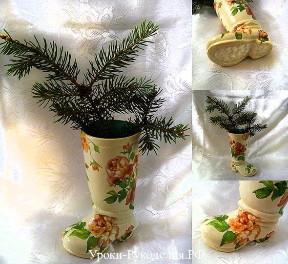 декупаж для начинающих фото, ваза своими руками, декор салфетками