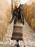 одеть вязаную юбку