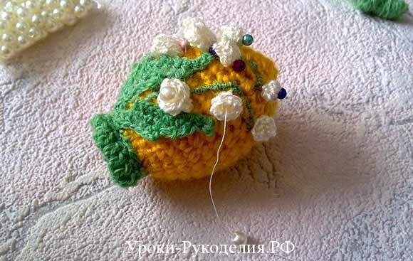 пришить бисер к цветку
