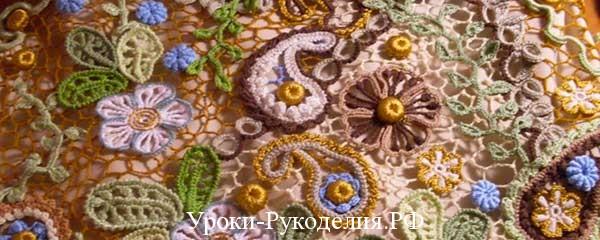 кружево мотивы цветы соединить сеткой как