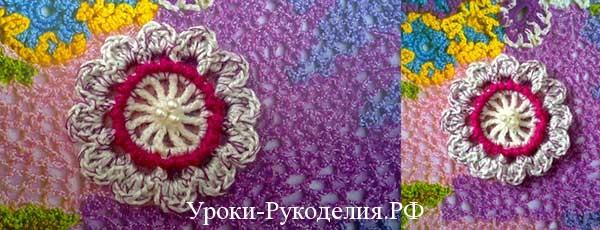 Объёмный вязаный цветок