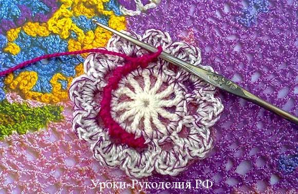 вязание цветов крючком показать мк