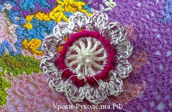 декорирование бисером вязаное полотно