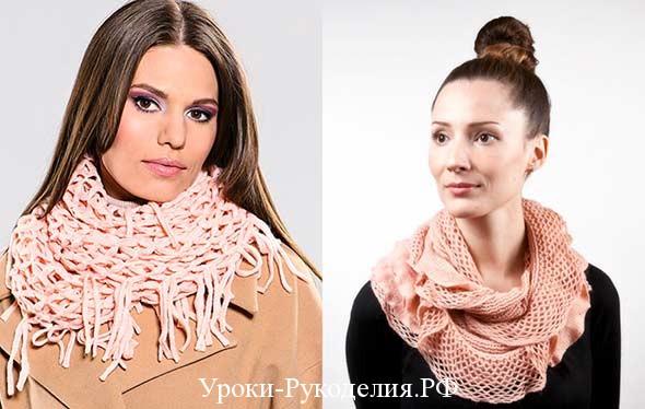 вязаный шарф-снуд как носить