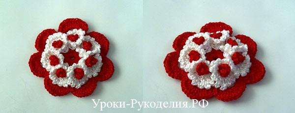 цветок своими руками для вязаного букета