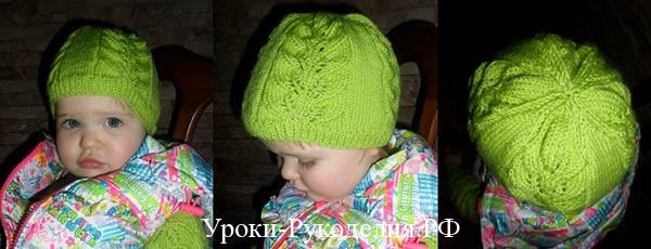 шапочка для девочки спицами весна
