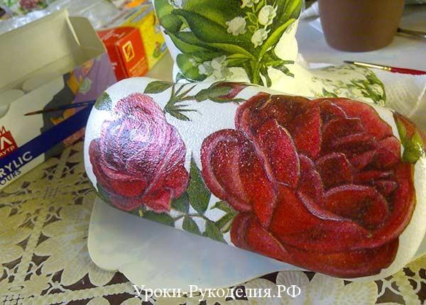 расписать цветы декупаж