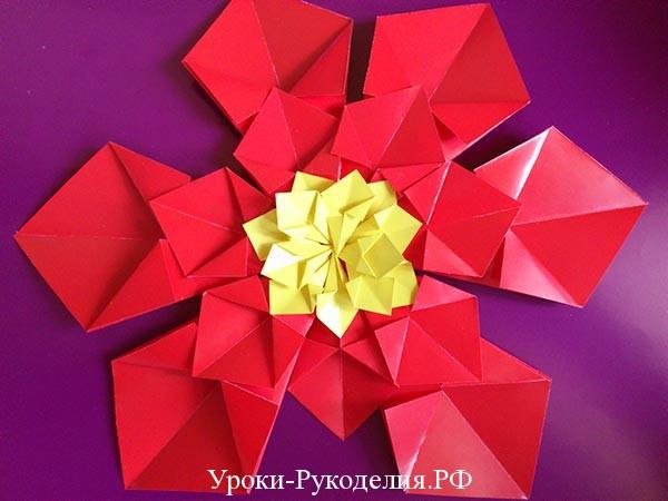 как сделать цветок из модулей поделки