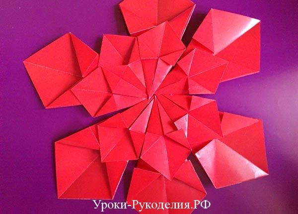цветок из модулей схема