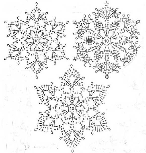 вязание снежинок схема