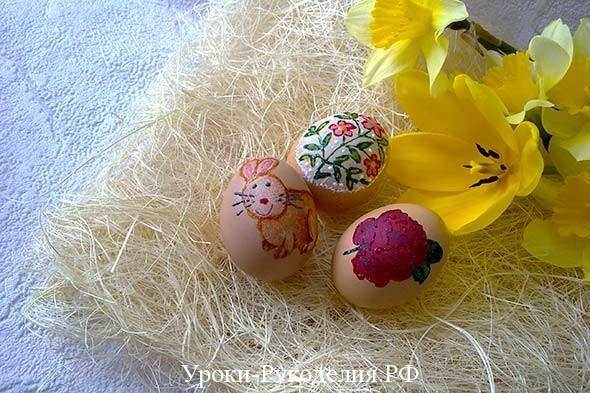 покрасить вареные яйца