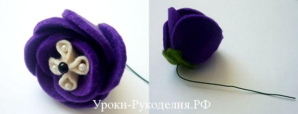 Цветок из фетра на флористической проволоке