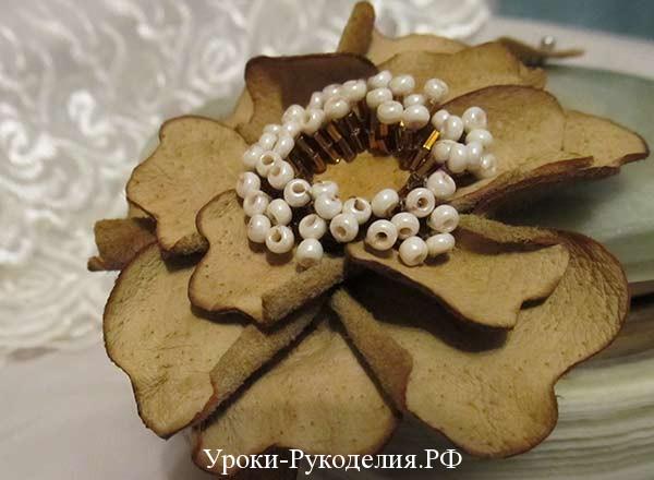 кожаный цветок мастер класс