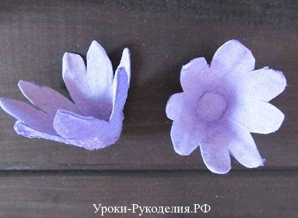 цветочки из лотка для яиц