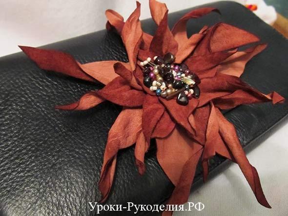 цветок из замши на сумку