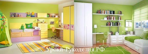 салатная детская комната