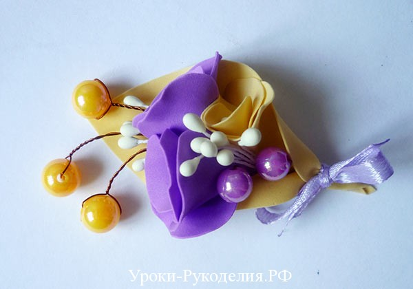 бутоньерка для жениха из фома