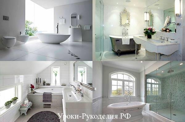 стили белой ванной комнаты