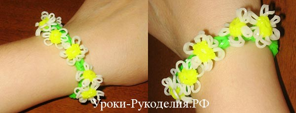 плести браслет цветок