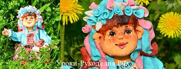 Красивая кукла из соленого теста
