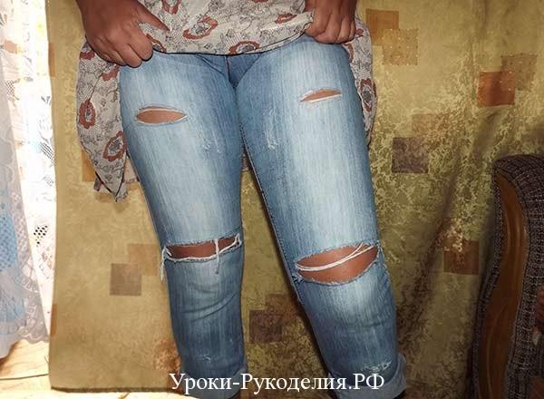 красивые потертости на джинсах