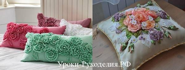 Ленты из атласа в предметах декора