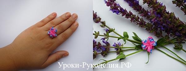 Кольцо из резинок на рогатке «Цветок»