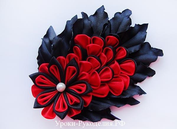 цветы канзаши на платье