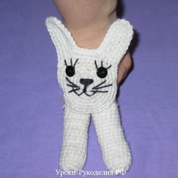 вязаный заяц на палец