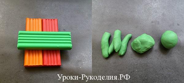 пластилин зелёный красный