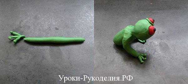 лепить лапки лягушки