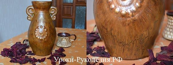 Декор вазы с помощью кракле