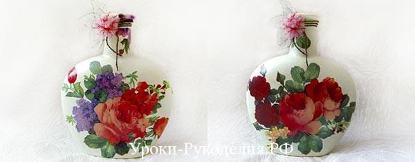 Декор бутылки в стиле шебби шик