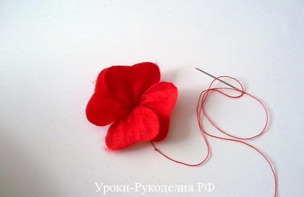 сшить цветок мака