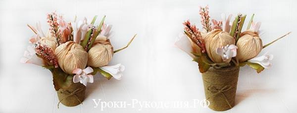 Цветы из конфет «Персики»