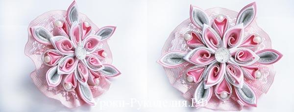 Резинка для волос канзаши «Розовая дымка»