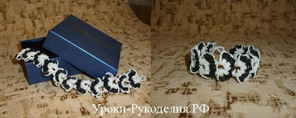 сплести черно белый браслет из резинок