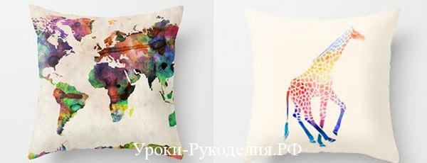 красками нарисовать на подушках